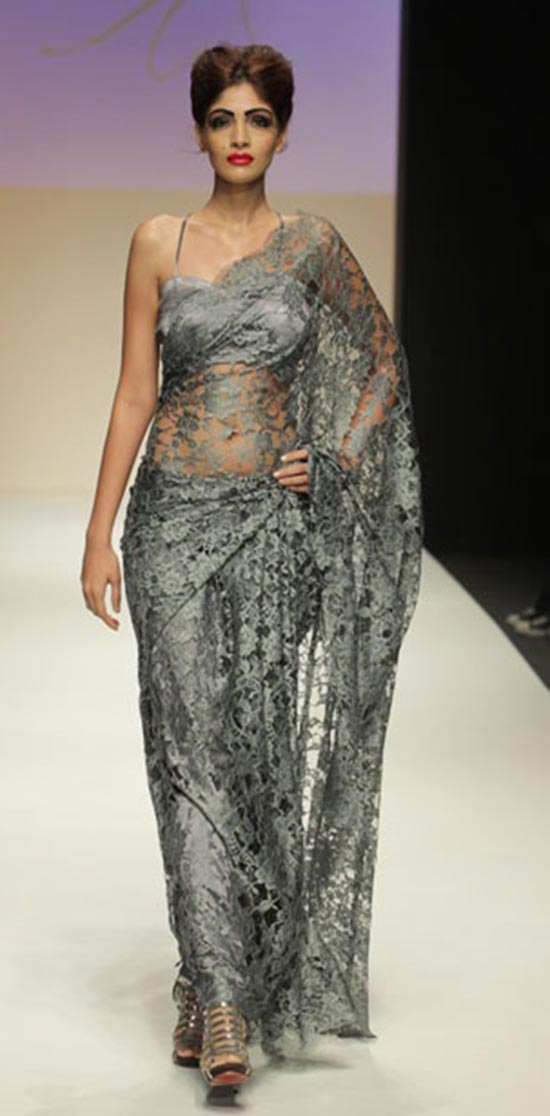 Silver Chantilly Lace Saree