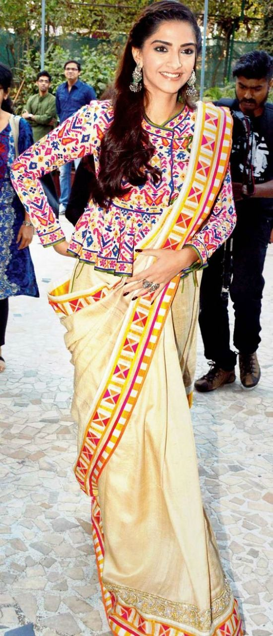 Sonam Kapoor High Neck Peplum Style Modern Bouse Design