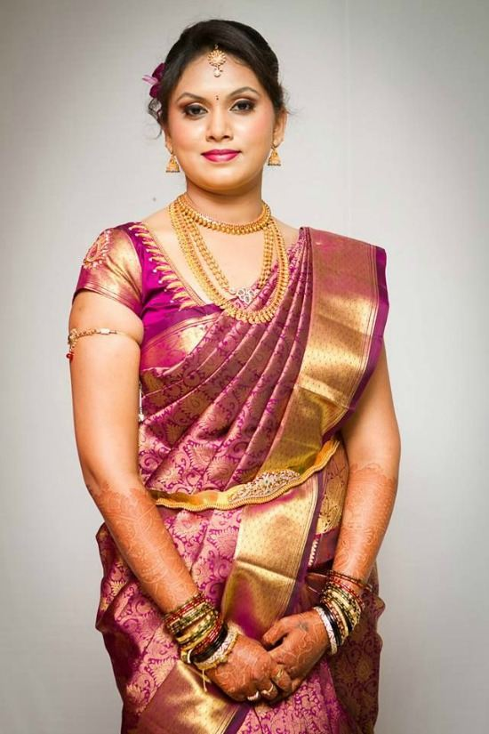 Sounth Indian Tamil Bride Wearing Purple Silk Saree