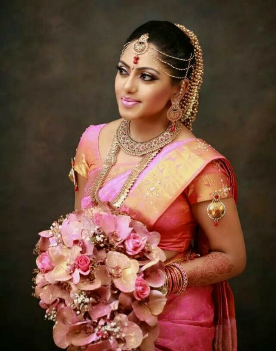 Srilankan Tamil Bride Wearing Indian Saree