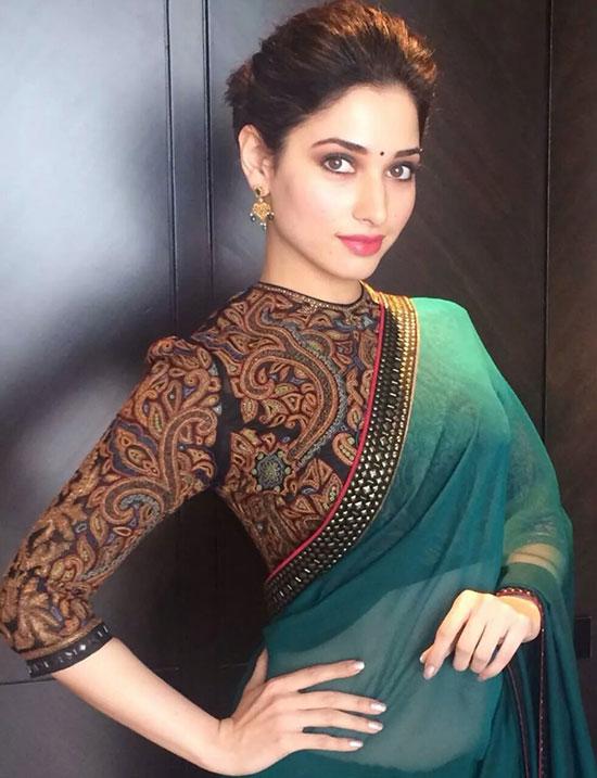 Tamanna Batia Teal Green Georgette Designer Saree
