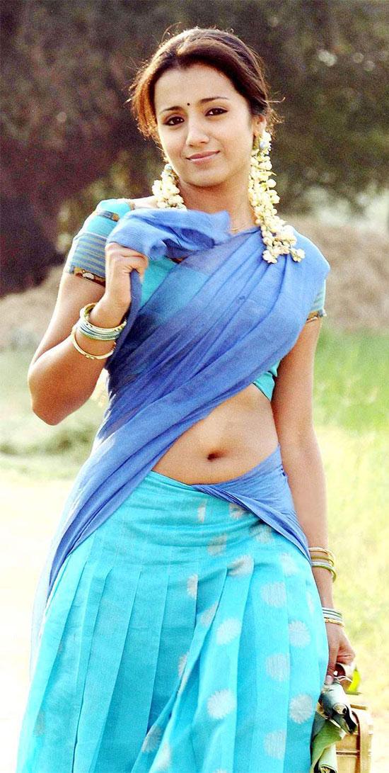 Trisha In Ice Blue Half Saree
