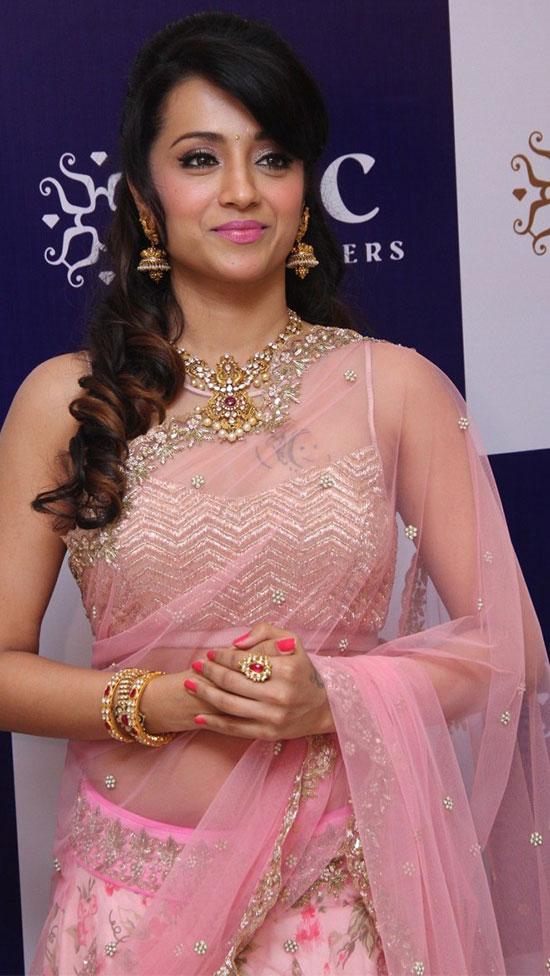 Trisha In Pink Net Half Saree