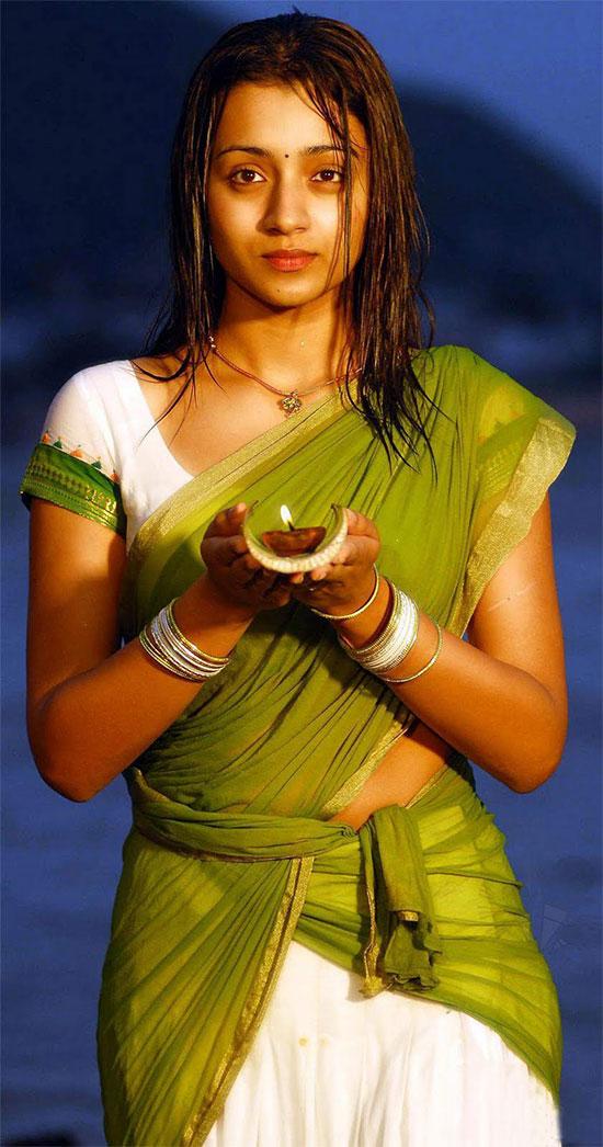 Trisha In White And Green Half Saree
