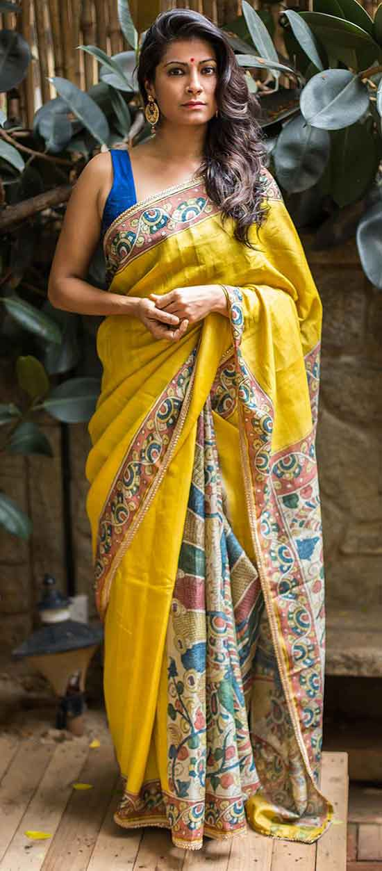 Yellow pure tussar half and half saree with hand painted kalamkari