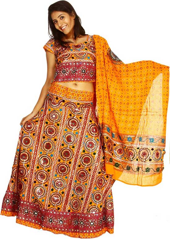 Zinnia Yellow Ghagra Choli from Kutch with All Over Embroidery and Sequins