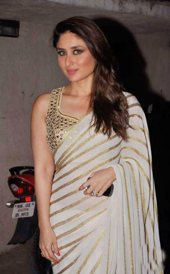Kareena Kapoor White Heavy Stylish Designer Saree