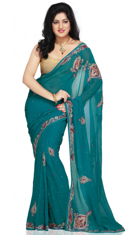 Green Worked Georgette Saree