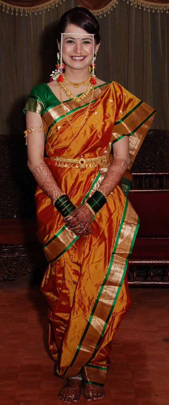 maharashtrian bride in yellow color nauvari saree