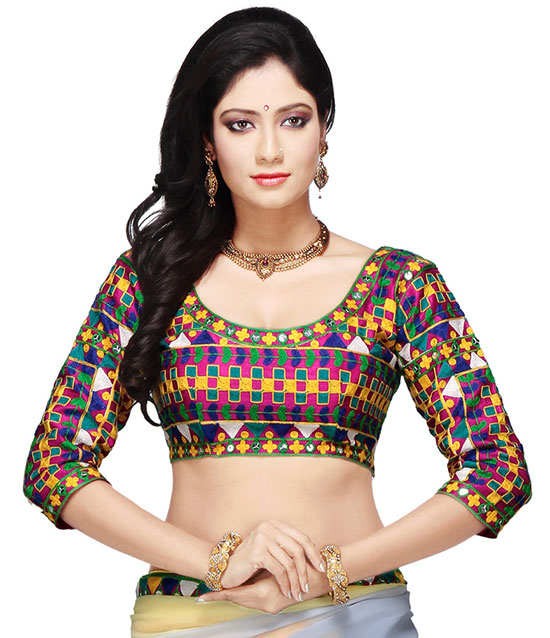 mirror work and embroidered readymade multicolour silk round neck three quarter sleeve
