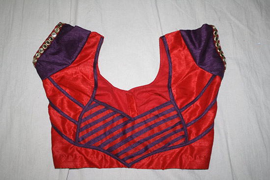 patch work stripe blouse back neck design