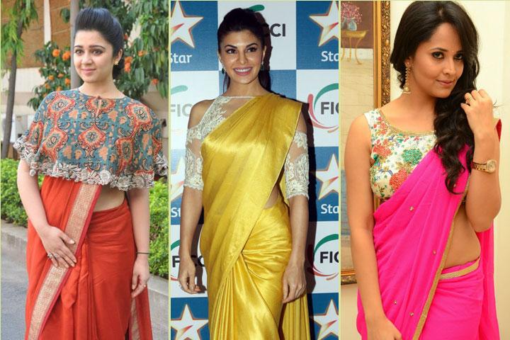 19 Amazing Pics of plain saree with designer blouse