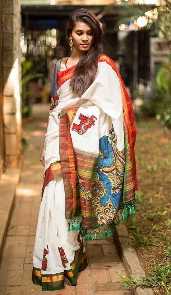 Pure silk border and pallu, appliquéd with Kalamkari motifs and zari work