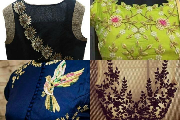 22 Graceful Pics of Simple Thread Work Blouse & Saree Designs