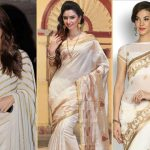 20 Beautiful Pics of white and gold saree
