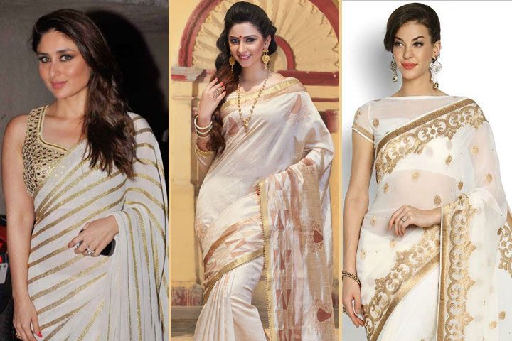 20 Beautiful Pics of white and gold saree