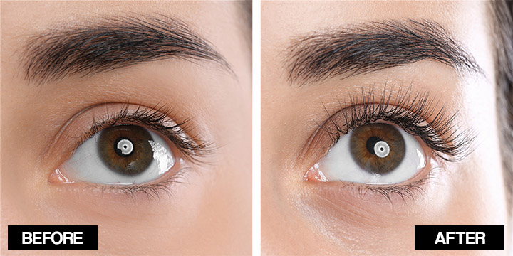 vaseline for eyelashes before and after