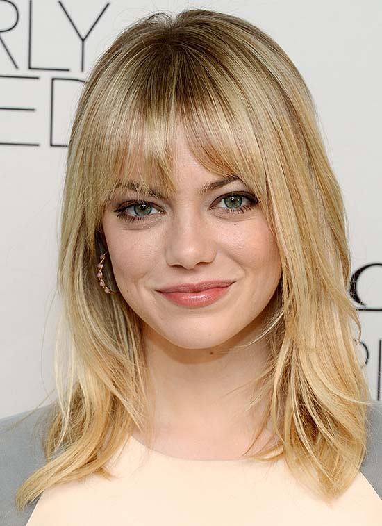 Emma Stone Medium Blonde Hair with Bangs