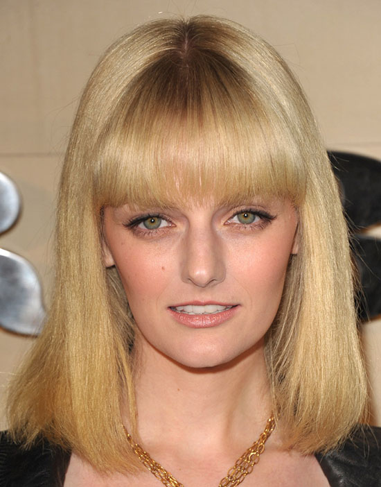 Lydia Hearst Medium Blonde Hair with Bangs
