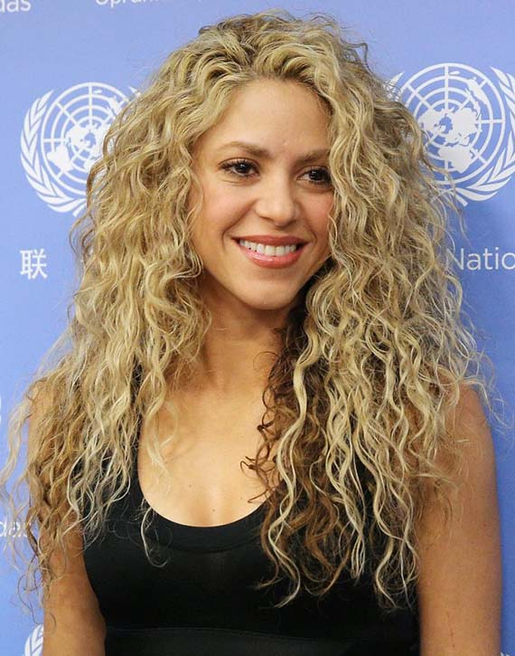 Shakira Curly Blonde Hair