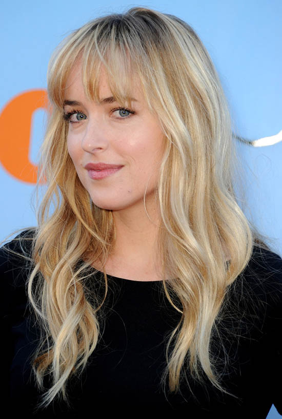 dakota johnson Long Layered blonde hair with Bangs
