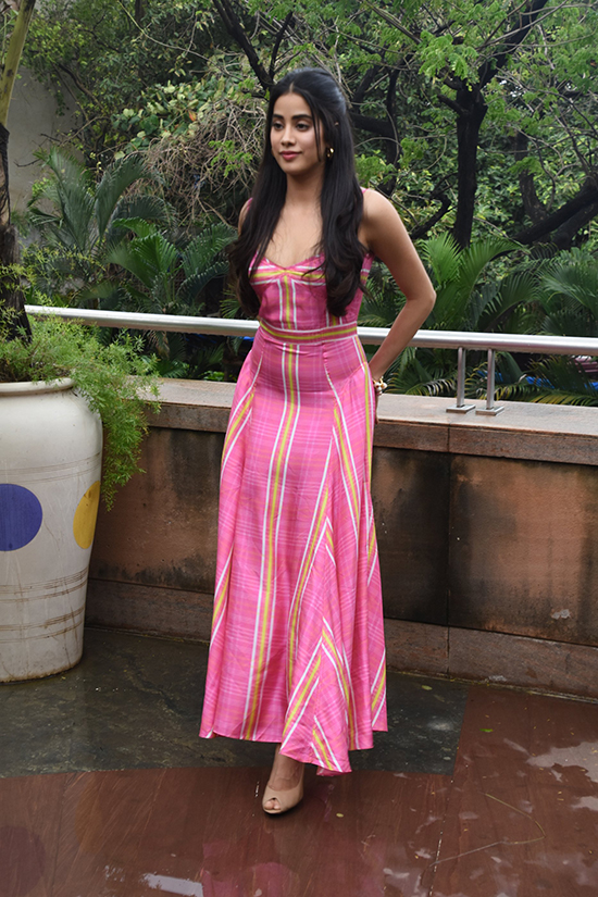 Janhvi Kapoor in Pink Maxi Dress