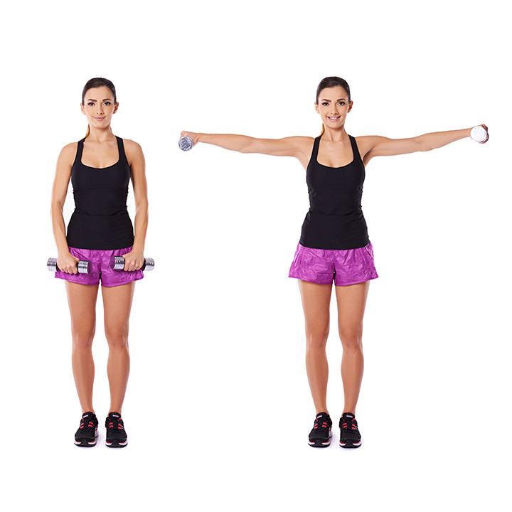Arms raised with dumbbells