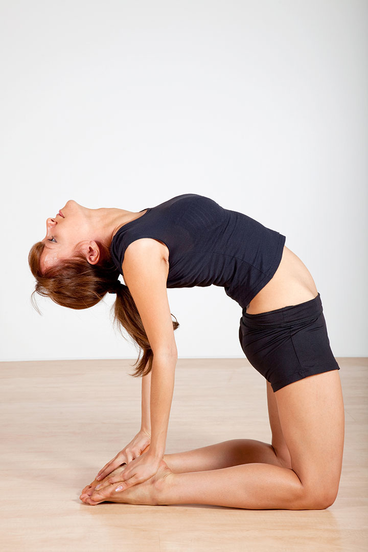camel pose for sinus relief