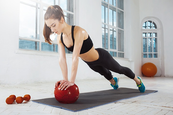 push ups with a medicine ball