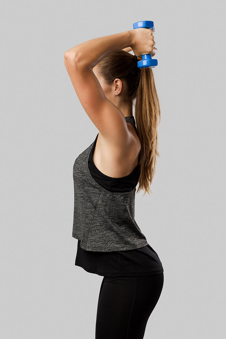 overhead dumbbell triceps extensions
