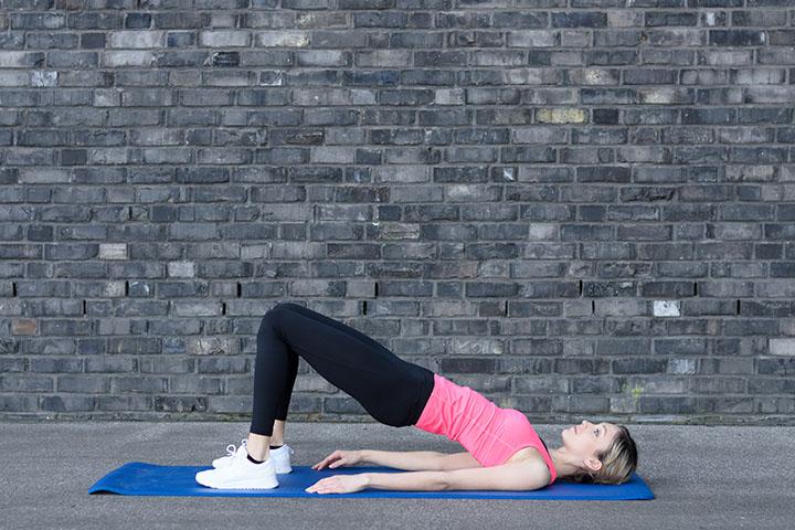 supine bridge leg workout