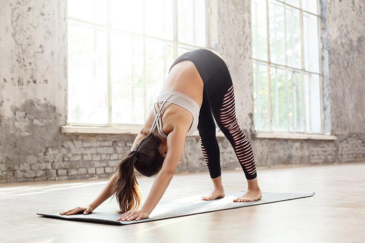 downward facing dog pose morning yoga