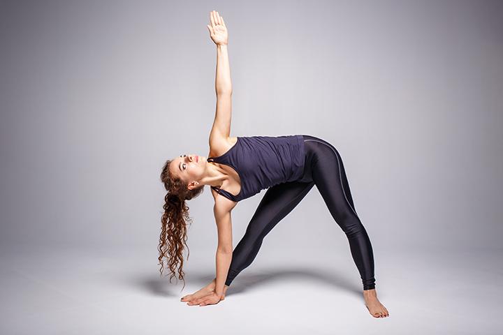 triangle pose morning yoga