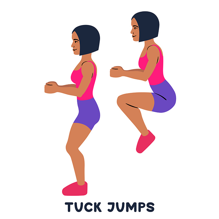 tuck jumps to tone legs