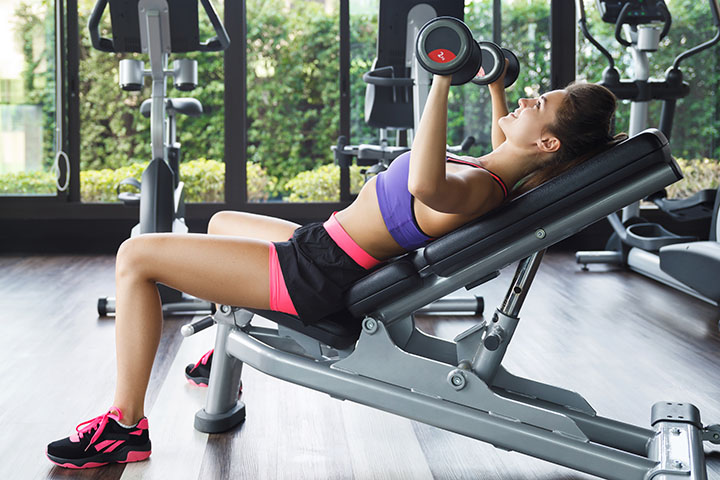 incline dumbbell chest press to lift breast