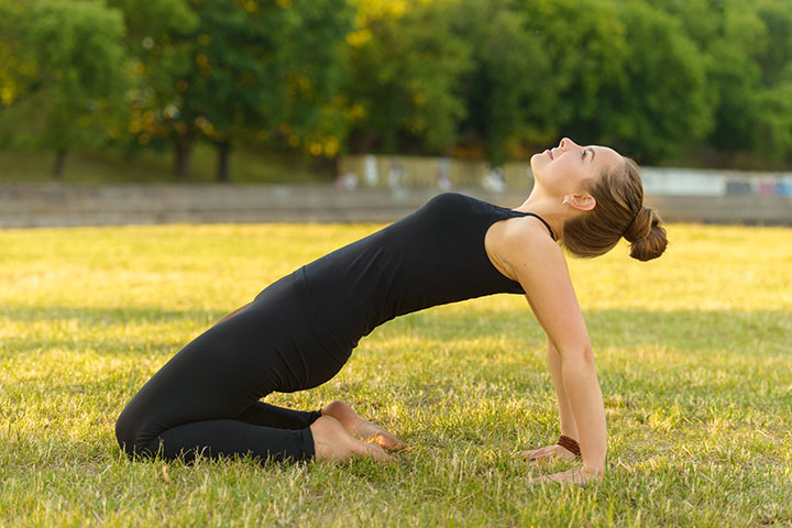 kneeling chest stretch for sagging breast