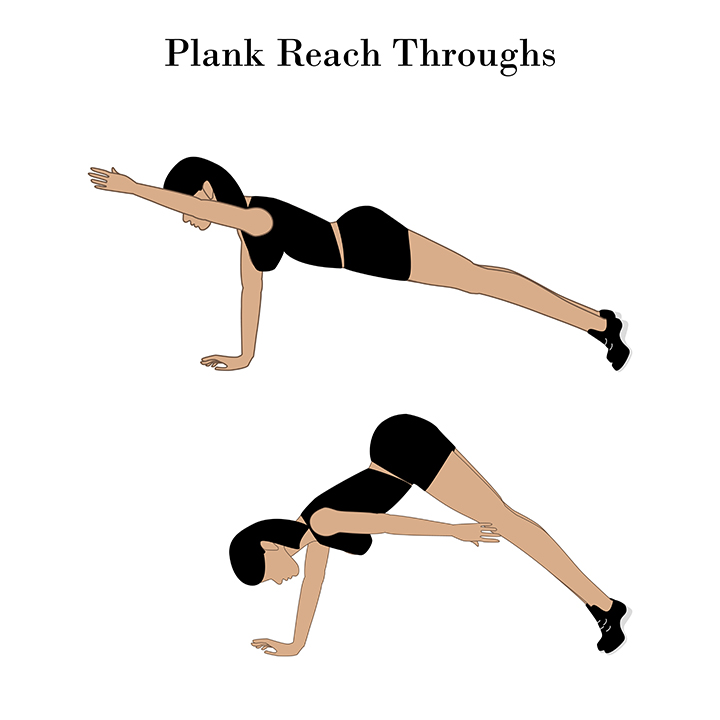 plank reach under for sagging breast