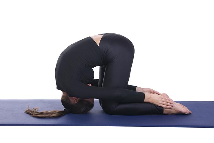 rabbit pose for upper back pain