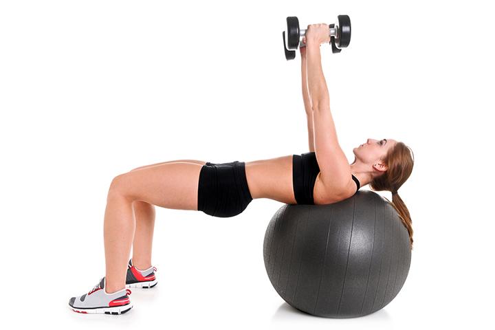Stability Ball Dumbbell Fly