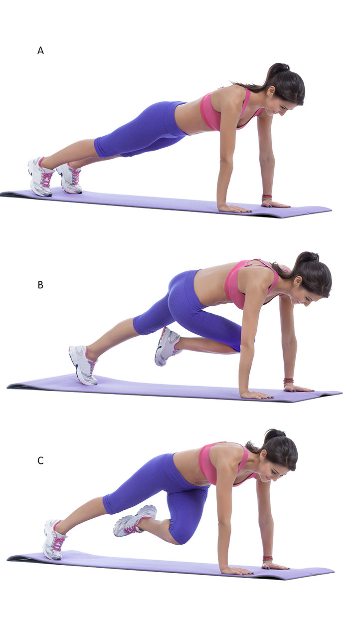 crossover running plank exercise