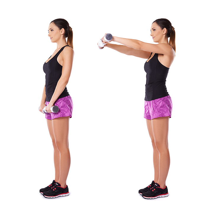 dumbbell front raise for shoulder