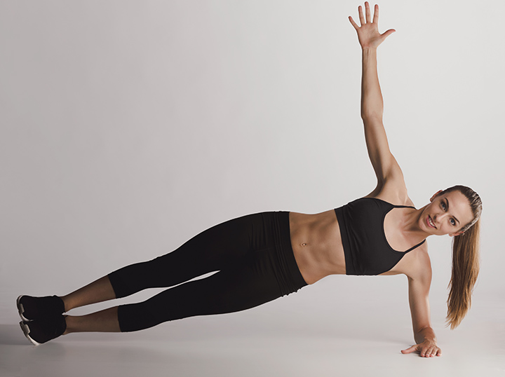 forearm side plank with elbow twist exercise
