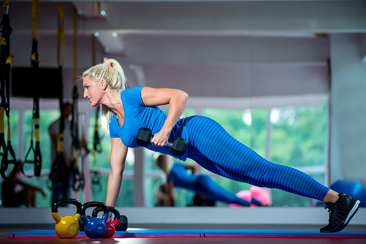 pushup position row for back