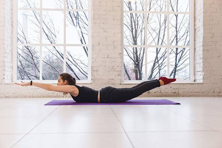 superman yoga pose for back