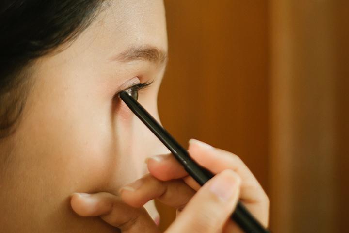 Tugging or Pulling During Application of Eyeliner
