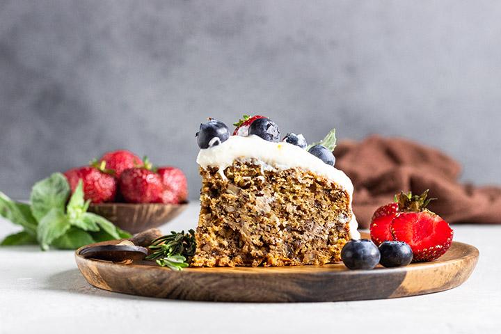 blueberry zucchini cake with lemon butter cream