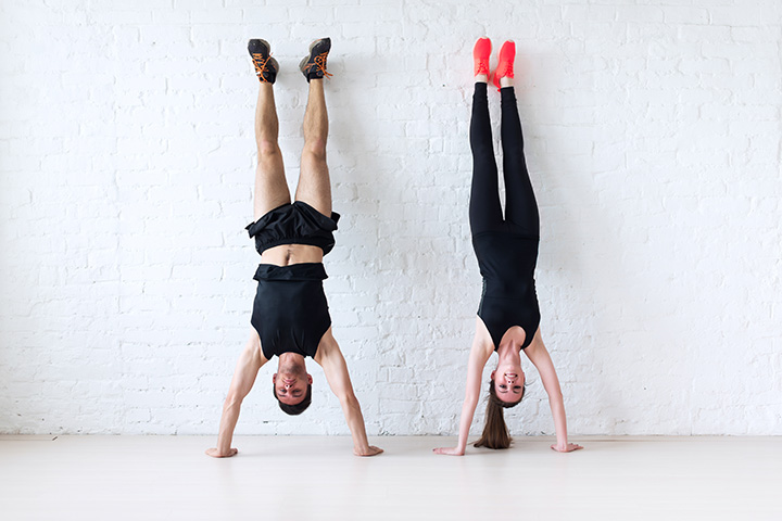 handstand against wall exercise