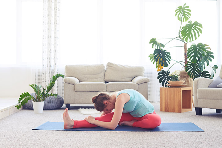 head to knee forward bend pose for high blood pressure