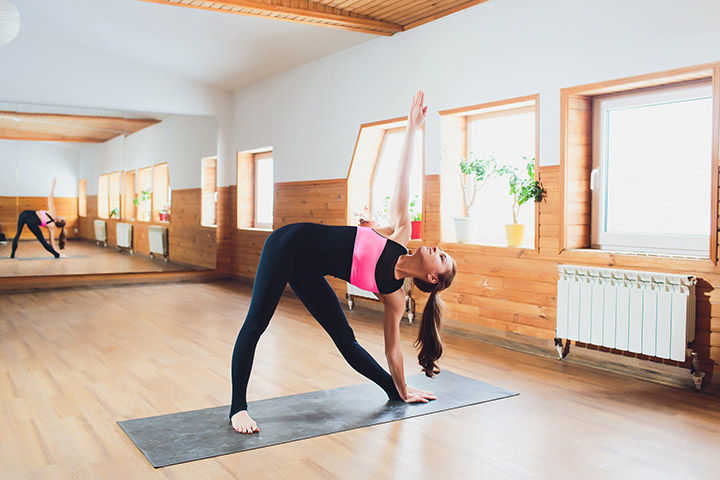 extended triangle pose for gas