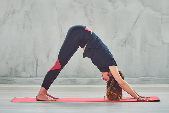 downward facing dog pose to improve posture
